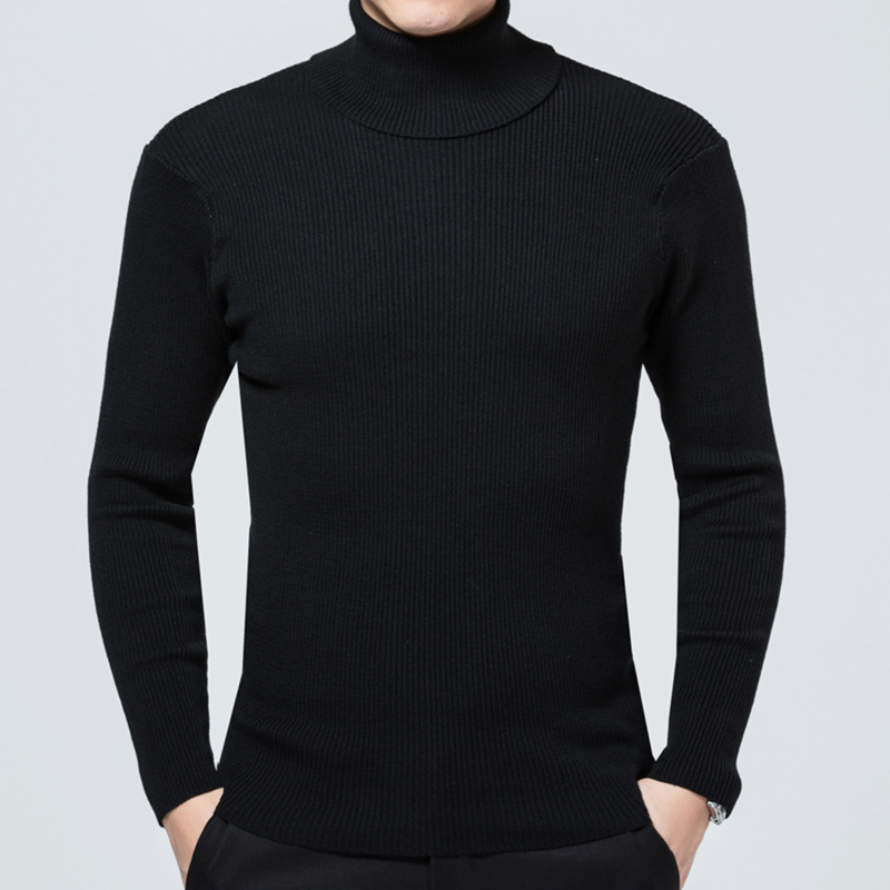 Turtleneck Thick Wool Pullover Sweater Men Pull Homme Black Yellow Cashmere Mens Sweaters Slim Fit Male Streetwear Pullovers