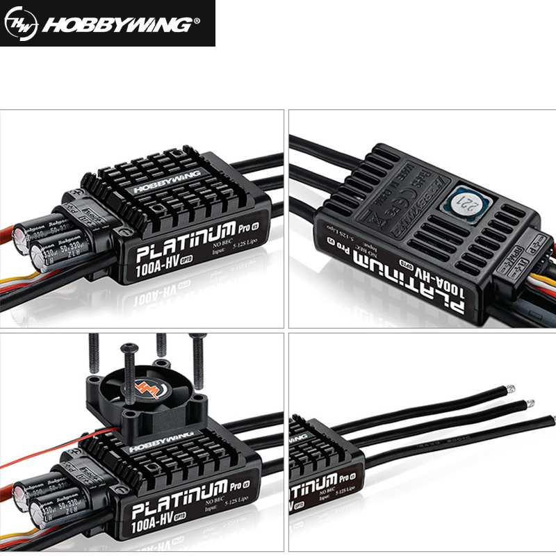 Original Hobbywing Platinum OPTO HV V3 100A 5-12S Lipo No BEC Speed Controller Brushless ESC for RC Drone Helicopter+Retail box 1pcs original hobbywing platinum 100a v3 high performance esc for align trex 550 600 700 rc helicopter fixed wing esc