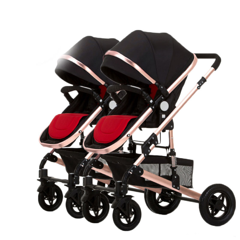 2019  Twin Baby Stroller Can Sit High Landscape Luxury Baby Stroller Detachable Boys Ang Grils Double Stroller With Car Seat