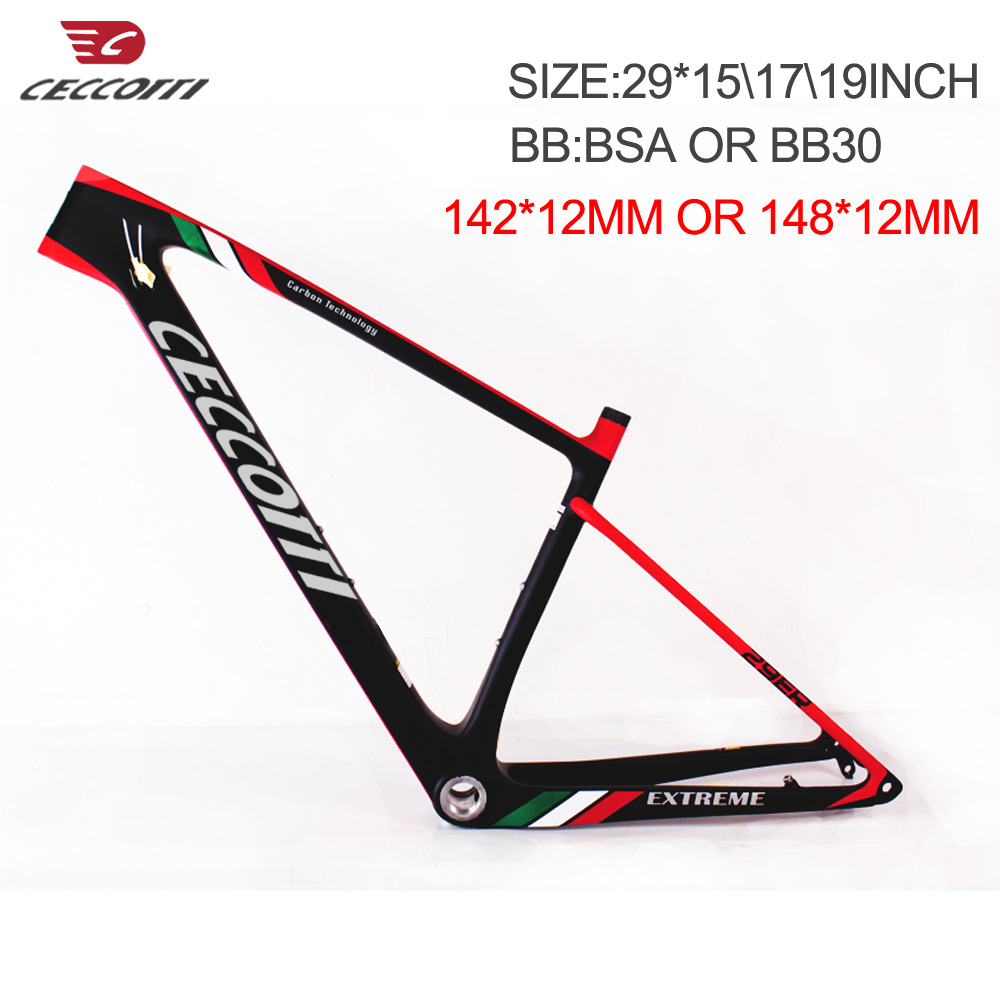 New Geometry Carbon Mtb Frame Ceccotti New 29er Downhill Mountain Bike Frame 15/17/19 Inch