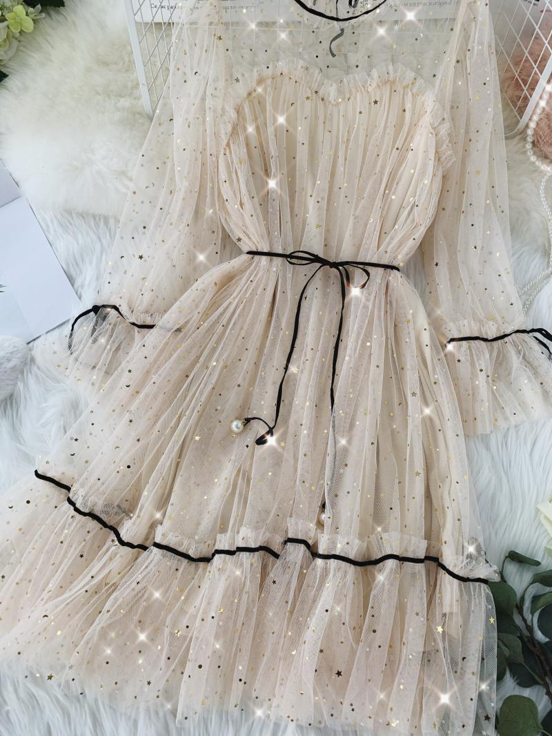 HISUMA spring autumn new women Star sequins gauze flare sleeve lace-up Princess dress female elegant o-neck mesh puff dresses 20