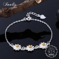 INALIS 925 Sterling Silver Daisies Charm Bracelet For Women Elegant Chrysanthemum Bracelets Bangles Sterling Silver Jewelry