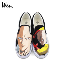 Wen Design Anime Hand Painted Canvas Shoes ONE PUNCH MAN Custom Black Slip on Sneakers for Man Woman