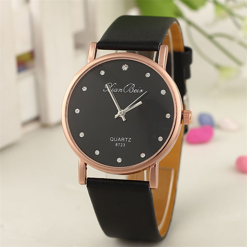 Fashion Style Montres Femmes Diamond Bracelet Watches Women Fashion PU Leather Wristwatch Men's Quartz Watch Woman Clock 2016 new arrival mens women watches top brand quartz watch lvpai vente chaude de mode de luxe femmes montres femmes bracelet
