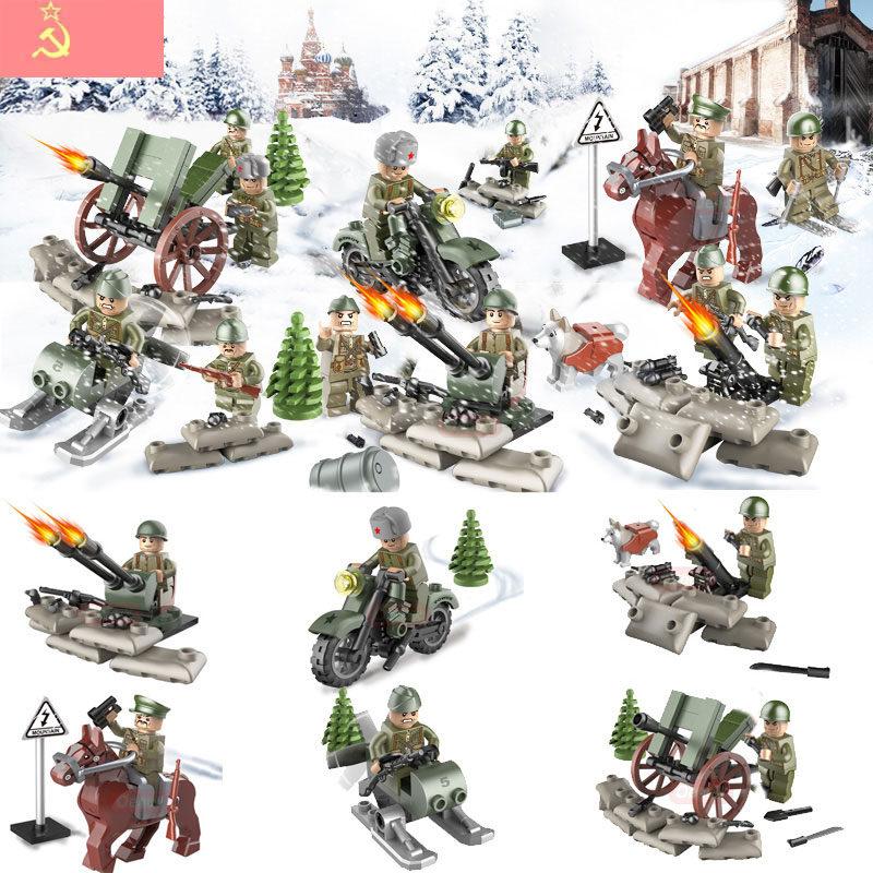 Oenux 6 Stück / Set WW2 Schlacht um Kursk militärischer Baustein des Ersten Weltkriegs 2 Sowjetische Armeefiguren mit Waffenbüchern modellieren Ziegelspielzeug für Kinder