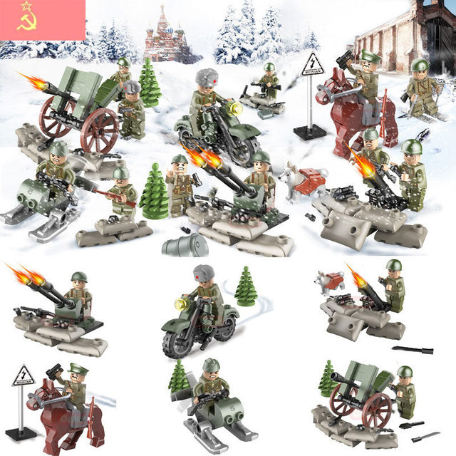 Oenux 6pcs/set WW2 The Battle Of Kursk Military Building Block World War 2 Soviet Army Figures With Weapons Model Brick Kids Toy