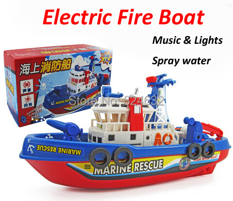 Electric Fire Boat Boat Model Children electric toy Boat Water Spray with light music boys toys