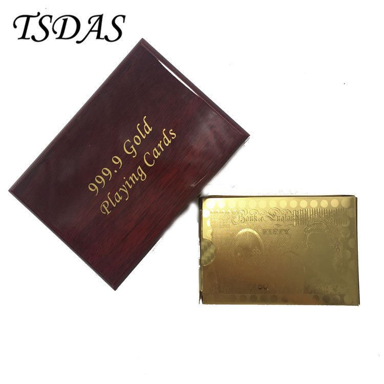 NEW 24K Gold Foil Plated Poker Cards Game Playing Card With 50 Pounds Design Gift Box + Golden Certificate
