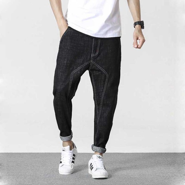 Men Joggers Jeans Pants Black Cotton Loose Baggy Denim Pants Sewing ...