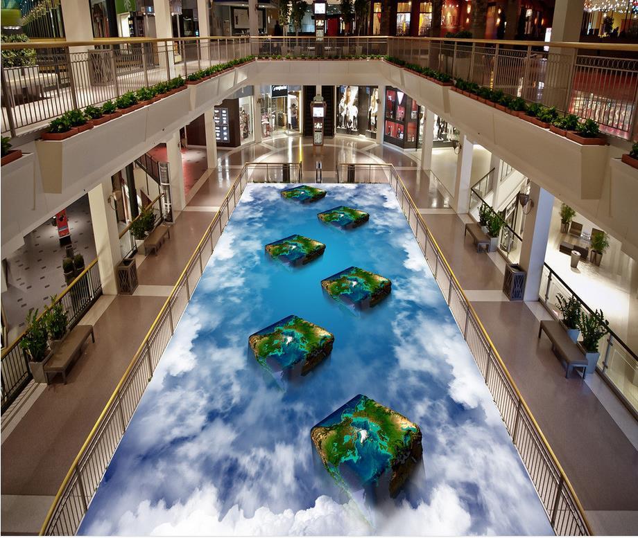 ФОТО 3D wallpaper floor for living room blue sky Custom Photo self-adhesive 3D floor   3D stereoscopic wallpaper floor