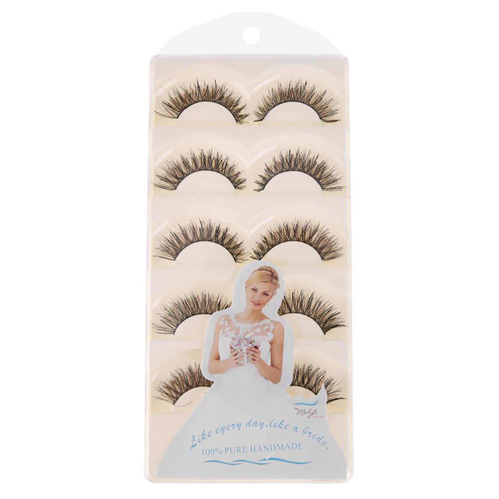 5 pares de pestañas postizas de visón de agua de tallo de algodón hechas a mano cruzadas densas pestañas de ojos naturales maquillaje de escenario negro y marrón color