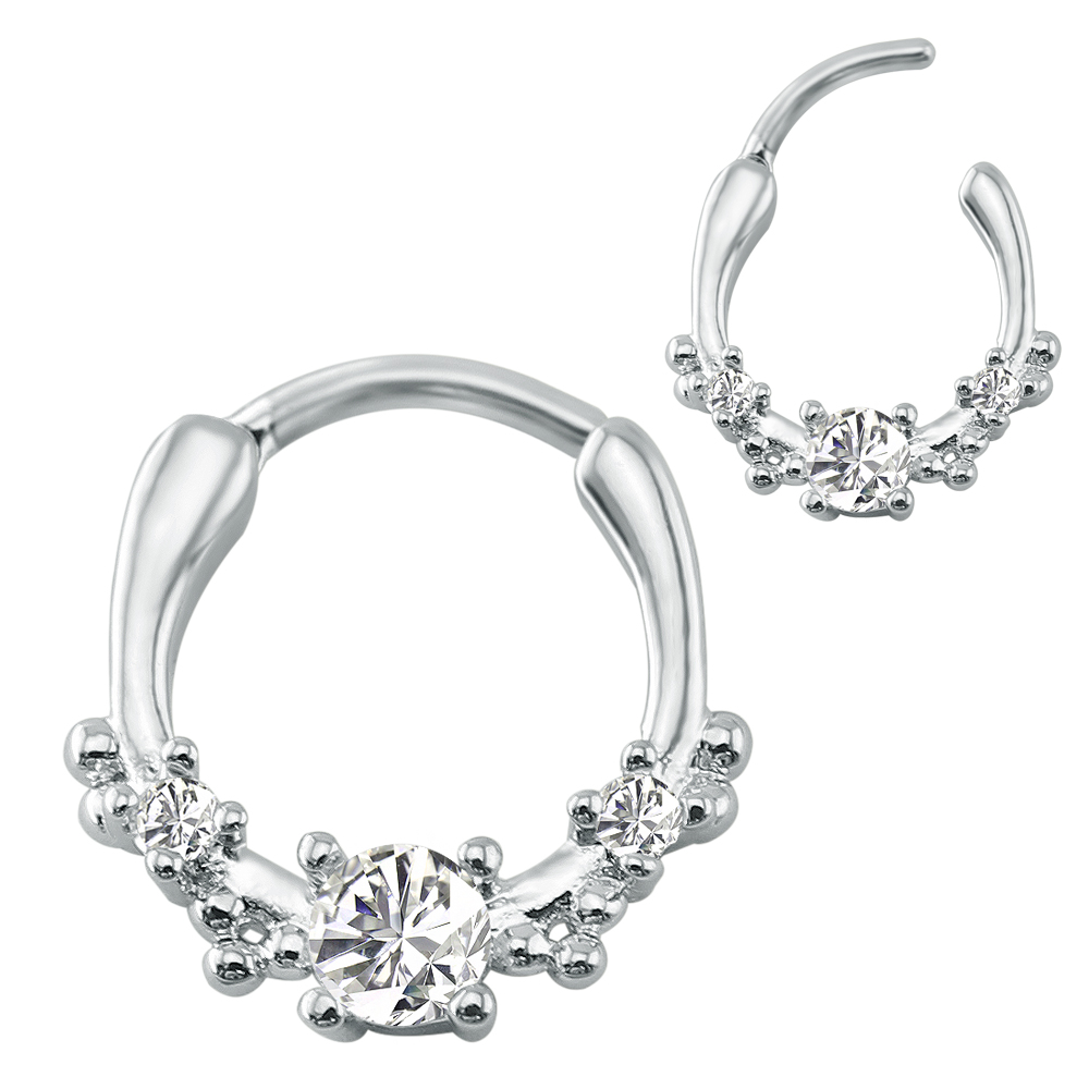 16G Elegant Fashion Nose Rings Beautiful Flower Design Septum Clicker Indian Surgical Steel Nose Hoop Piercing Jewelry For Women