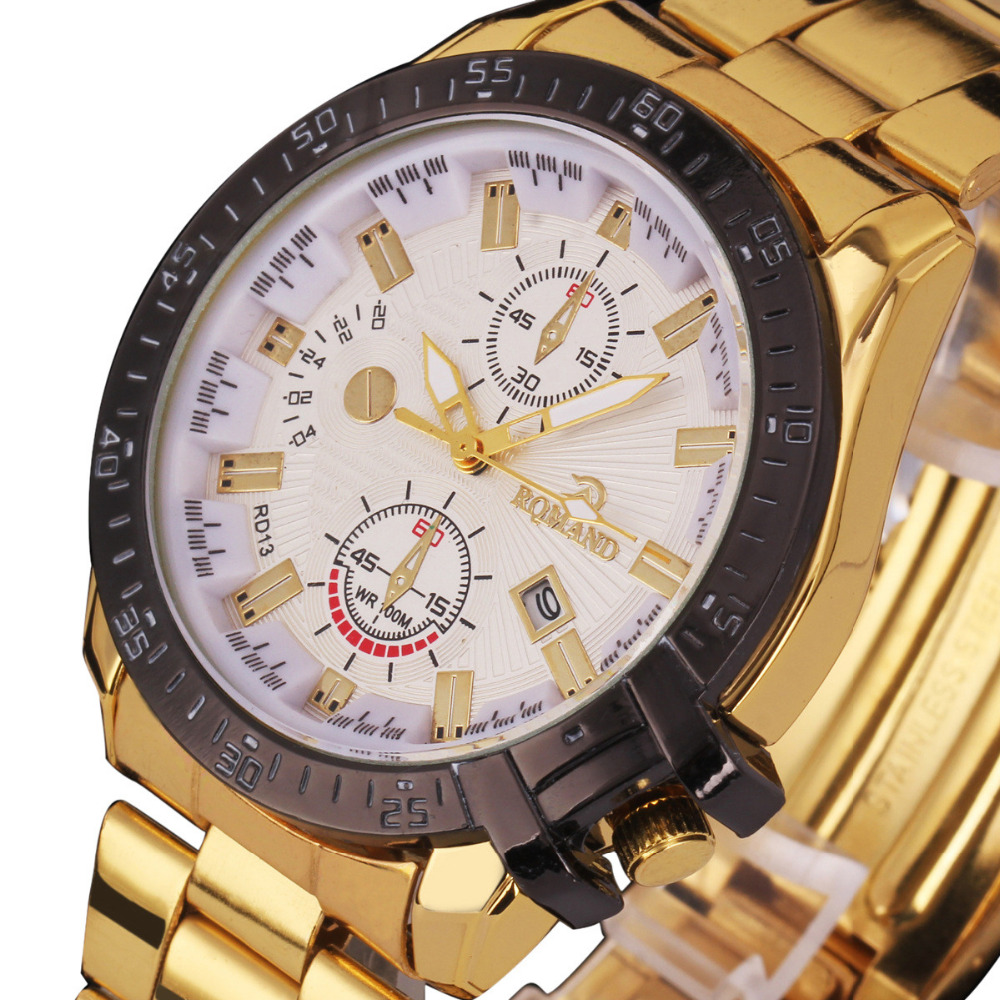 2018 Hot Product Luxury Mens Black Dial Gold Stainless Steel Date Quartz Analog Sport Wrist Watch bayan saat mens Gold watch smileomg mens gold watches diamond dial gold steel analog quartz wrist watch christmas gift free shipping sep 8