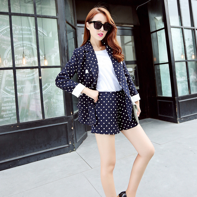 2016 Autumn Women's Fashion Pant Suits Elegant Dotted Blazer Twinset Hot Sale Cute Blazers with Shorts Female Casual Streetwear