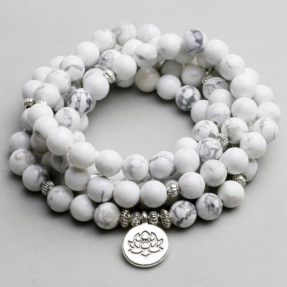 Frauen Armband Weiß Howlith Perlen mit Lotus OM Buddha Charme Yoga Armband 108 Mala Halskette Dropshipping Stein Schmuck