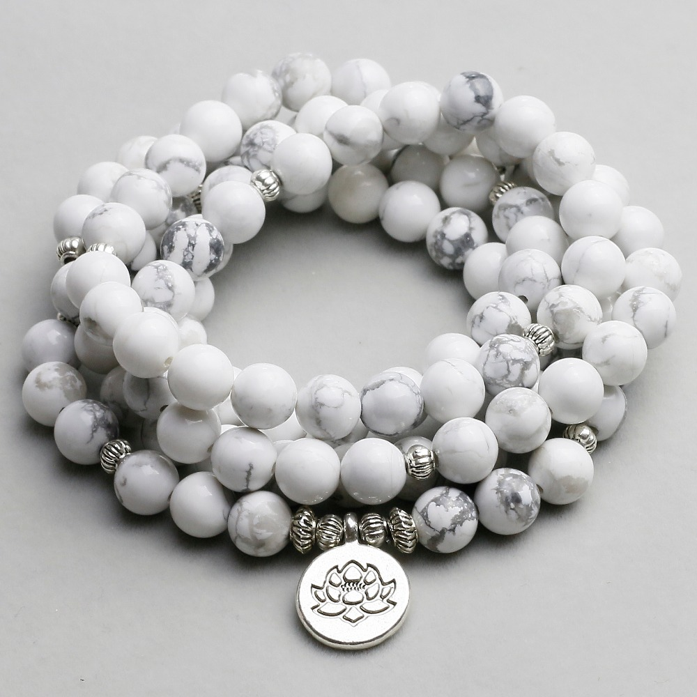 Women`s Bracelet White Howlite Beads with Lotus OM Buddha Charm Yoga Men Bracelet 108 Mala Necklace Dropshipping Stone Jewelry(China)