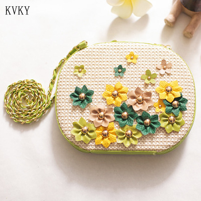 KVKY 2018 Summer Casual Beach Flowers Bag Handbag Straw Bags for Women Girls Small Chain Flap Single Shoulder Bag Crossbody Bags