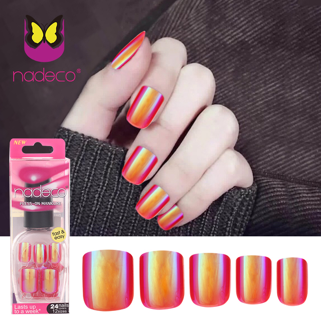 Nadeco Chrome Holographic Luxury Press On Nails Pre Glued