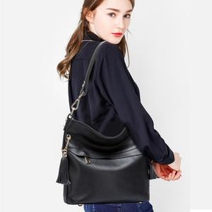 Image 5 - Zency 100% Genuine Leather Charm Women Shoulder Bag With Tassel Fashion Lady Messenger Crossbody Purse Black White Handbag