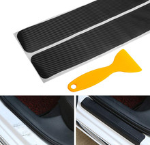 4pcs Car Door Sill Pedal Threshold Carbon Fiber Protect Stickers For Dodge charger nitro journey challenger caliber Car Styling(China)
