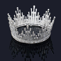 Trendy Gold Silver Pearl Tiara Round Wedding Crowns For Bride Hair Accessories Crystal Inlaid Queen Crown