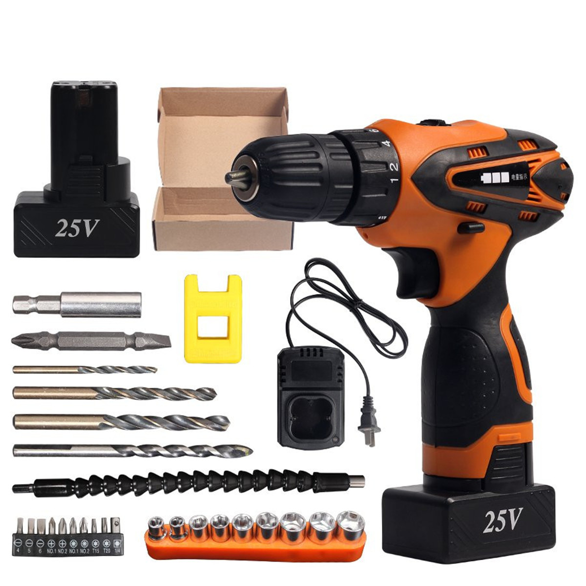 Cordless Impact DC 25V Electric Drill Lithium Battery Electric Drill Power Drills with Screwdriver Bit Accessories Set For Wood цена