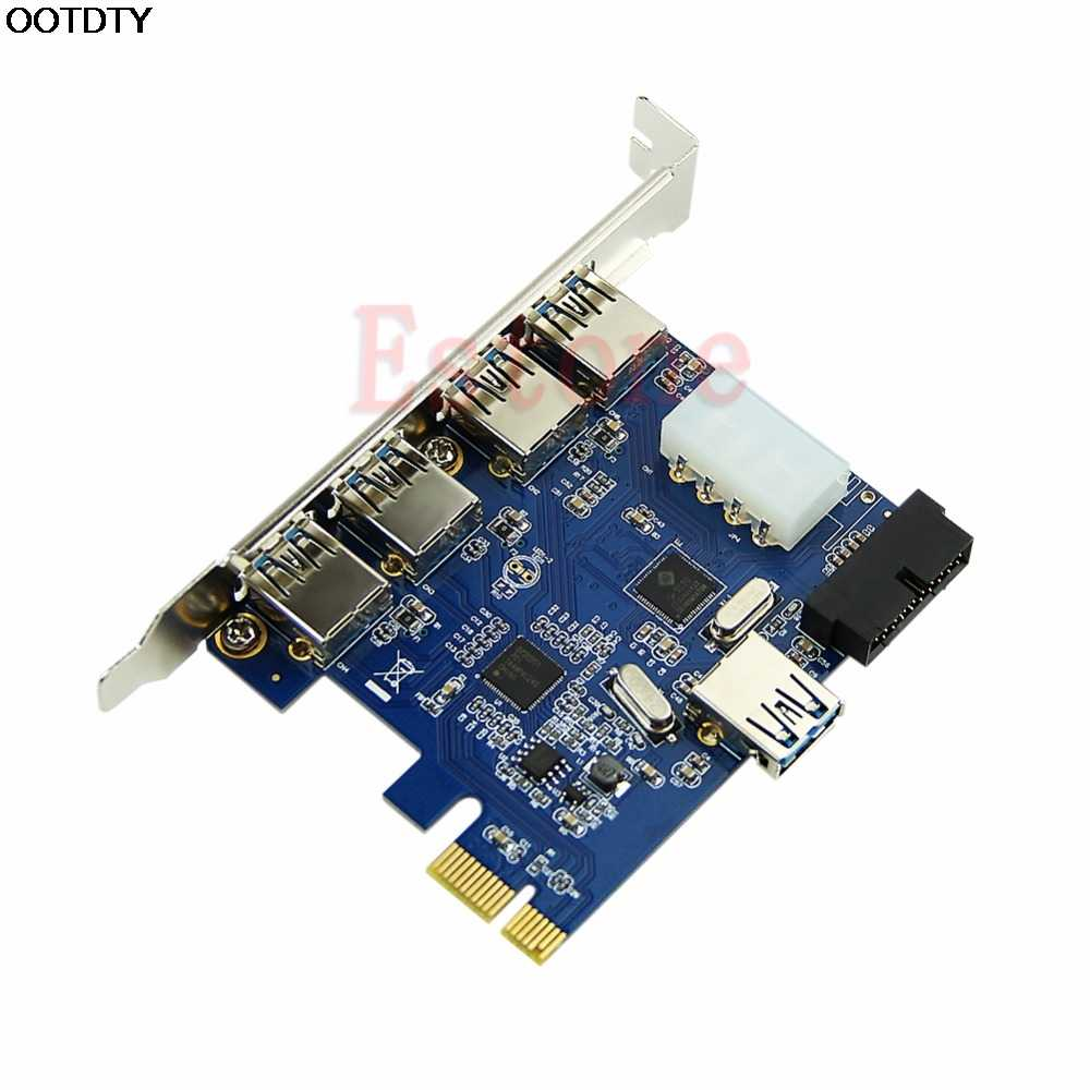 5 Poorten Pci-E Pci Express Card Usb 3.0 + 19 Pin Connector 4 Pin Adapter Voor Win