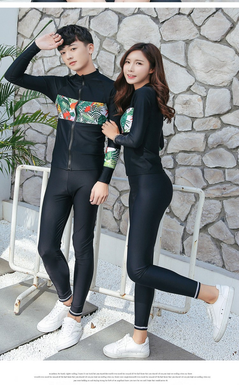SBART Anti-UV Lycra Long Sleeve Surfing Rash Guard Shirts Pants With Zipper Swimwear Couple Plus Size Quick Drying Diving Suit