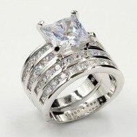 Уникальные кольца для пар женские модные украшения 925 пробы серебро Принцесса Cut 5A Кубического Циркония Обручальное кольцо подарочный набо
