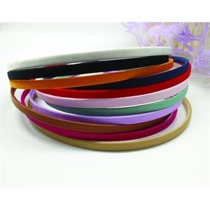 Image 3 - 50 חתיכות משלוח חינם סיטונאי ריק מוצק צבעים בד מכוסה סרט מתכת 5mm שיער להקת שיער אביזרי DIY קרפט