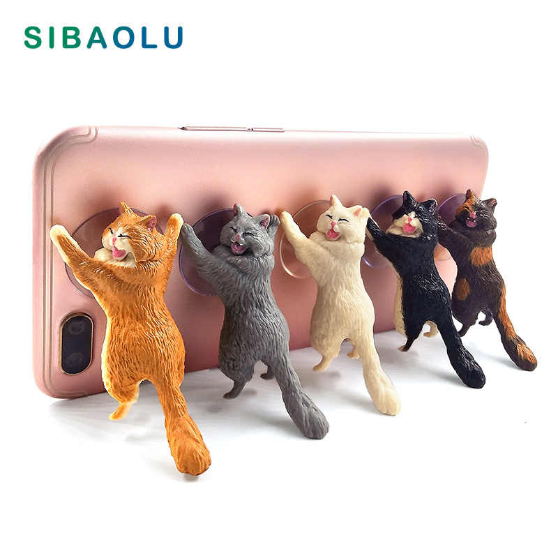 Diy Cat Sucker Animal Phone Bracket Support posture home decor miniature fairy garden decoration accessories modern figurine toy