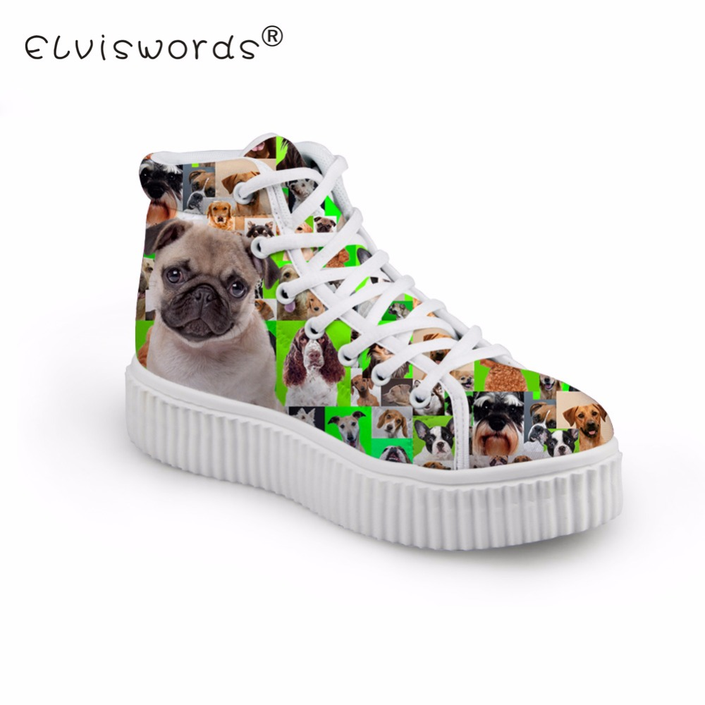 ELVISWORDS Women's Flat Shoes Ladies Pug Dog Prints High Top Platform Shoes for Girls Pictures Pattern Kawaii Plataformas Mujer