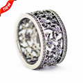 Compatible with European Style Forget Me Not with CZ Flower Silver Rings for Women 925 Sterling Silver Fashion Jewelry FLR15084