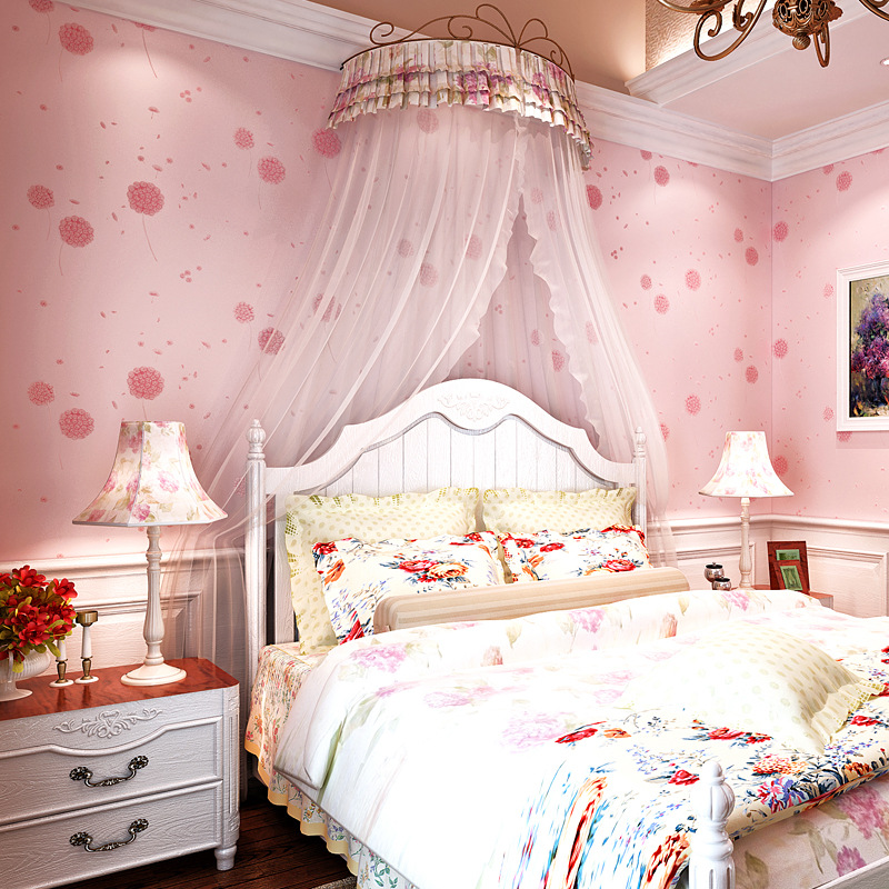Korean Rural Non Woven Wallpaper Living Room Pink Girl