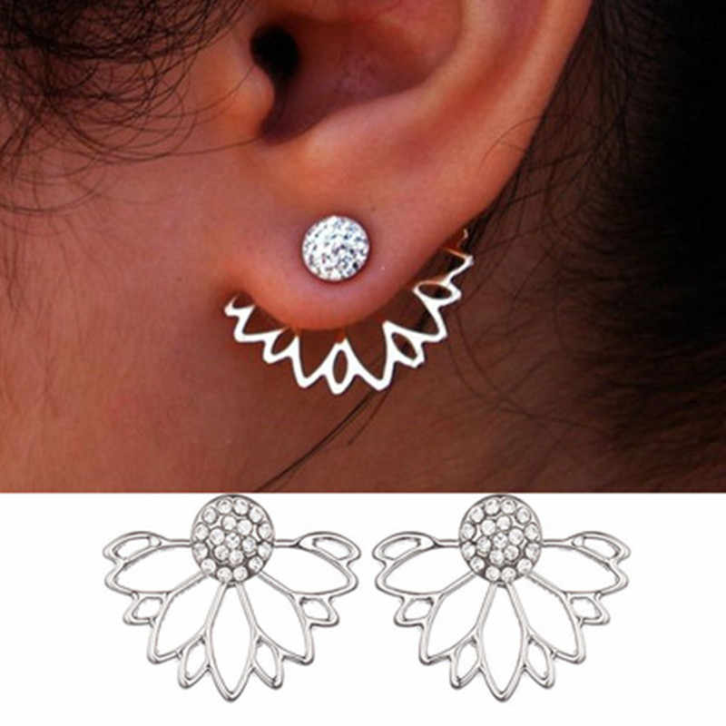 2018 H Lotus Crystal Jacket Flower Stud Earrings For Women fashion Jewelry Double Sided Gold Silver Plated earrings