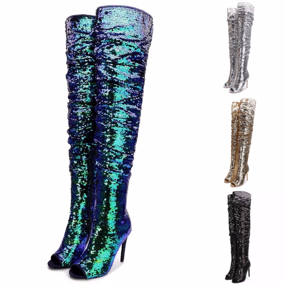 Plus Size Shoes Woman Sexy Thigh High Boots Bling Sequined Woman Party Nightclub Boots Designer Woman Peep Toe High Heels Boots