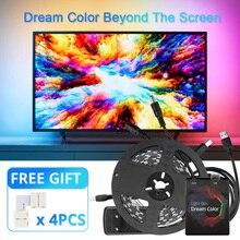 5 в WS2812 USB Светодиодная лента светильник 5050 HDTV настольный ПК с подсветкой Ambi светильник ws2812b Адресуемая RGB Светодиодная лента 1 м 2 м 3 м 4 м 5 м