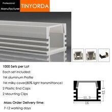 Tinyorda 1000 шт.(длина 1 м) светодиодный профиль Alu светодиодный профиль канала для 11 мм Светодиодные полосы света 1 м светодиодный профиль Alu профильный кабельный канал