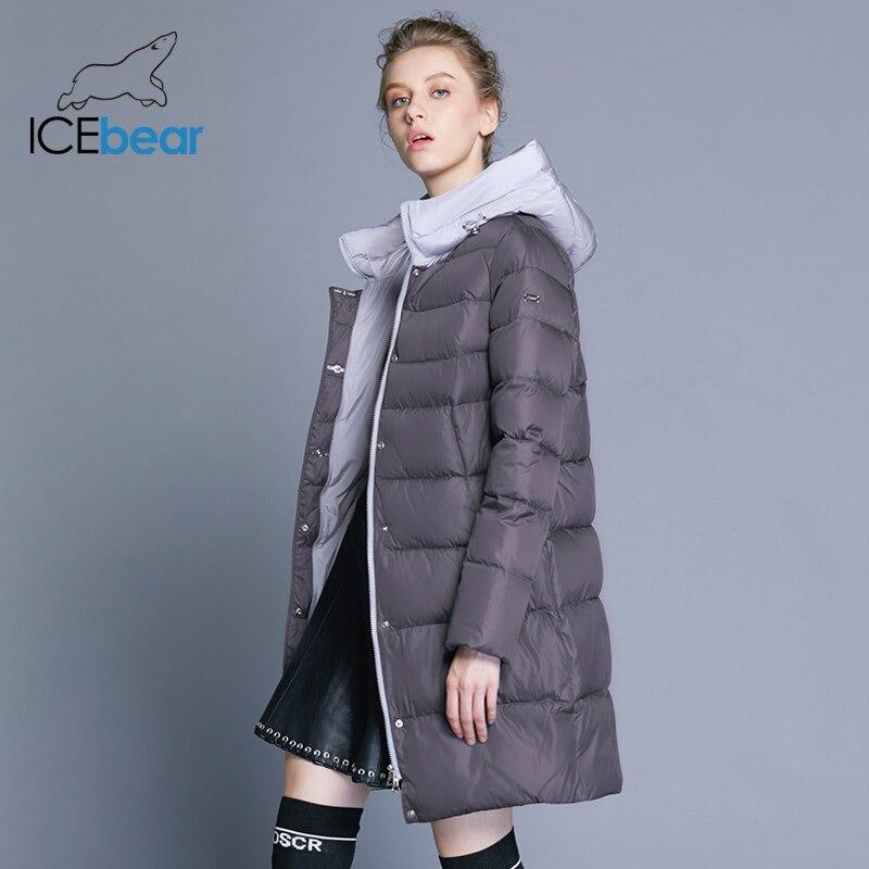 ICEbear 2018 Новинка с капюшоном куртка облегающая женская зимняя высокое качество бренда одежды двусторонняя молния на ветрозащитном куртке ...