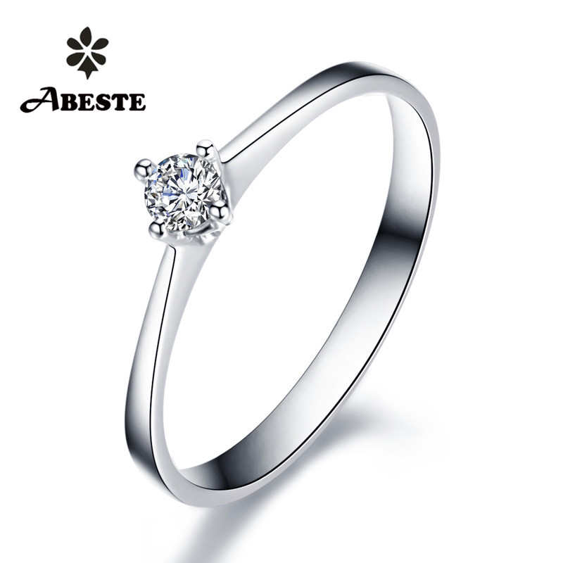 ANI 18K White/Yellow/Rose Gold (AU750) Women Wedding Ring 0.1 CT Certified SI Solitiare Round Real Diamond Ring anillos mujer new pure au750 rose gold love ring lucky cute letter ring 1 13 1 23g hot sale