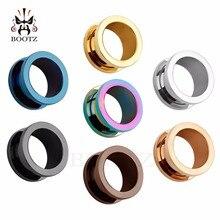 KUBOOZ Tunnels de Piercing en acier inoxydable vis, bouchons élargis, jauges, bijoux cadeau à la mode, 6mm 20mm, 48 pièces/lot