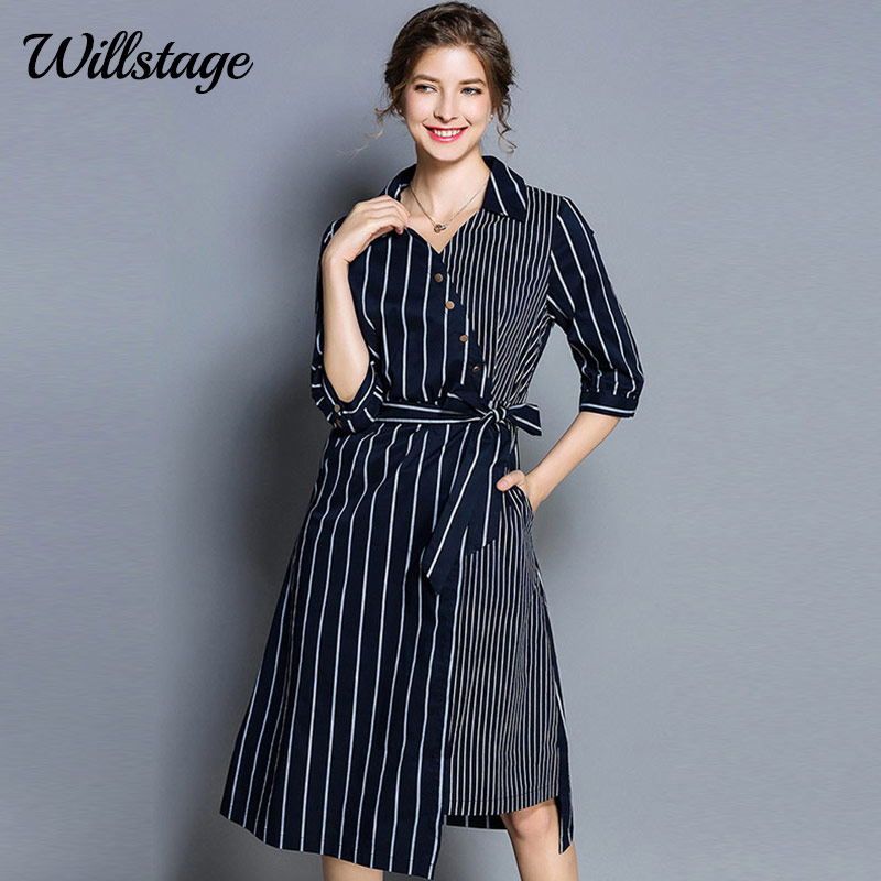 Willstage Fashion stripe dresses Women Half sleeve V neck Dress with sashes  bow lace up Patchowrk 479d8c85de88