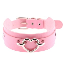 Pink Choker Heart Collar Necklace For Women Studded Goth Chockers Kawaii Girls Party Club Gothic Jewelry Harajuku Accessories
