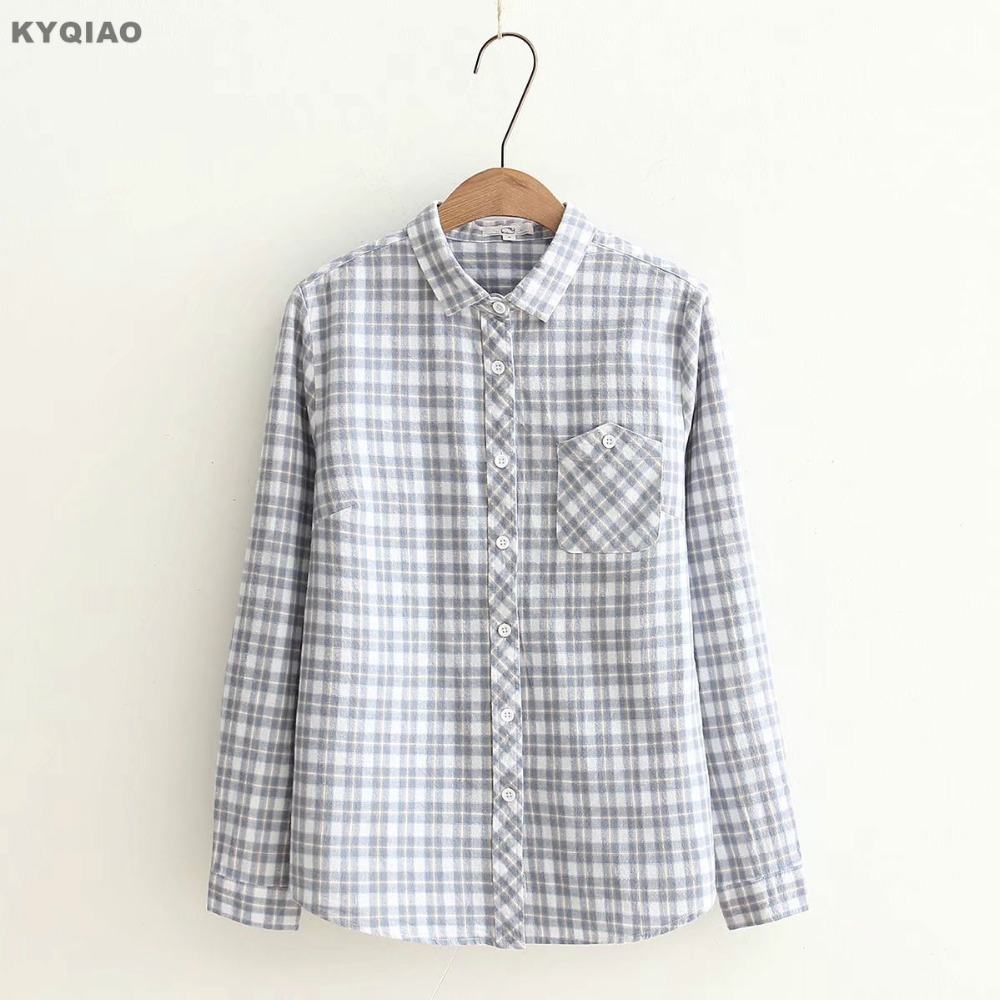 Kyqiao Solid Shirt 2019 Women Autumn Spring Japanese Style Fresh Long Sleeve Turn-down Collar Hollow Bowknot Blouse Blusa Women's Clothing
