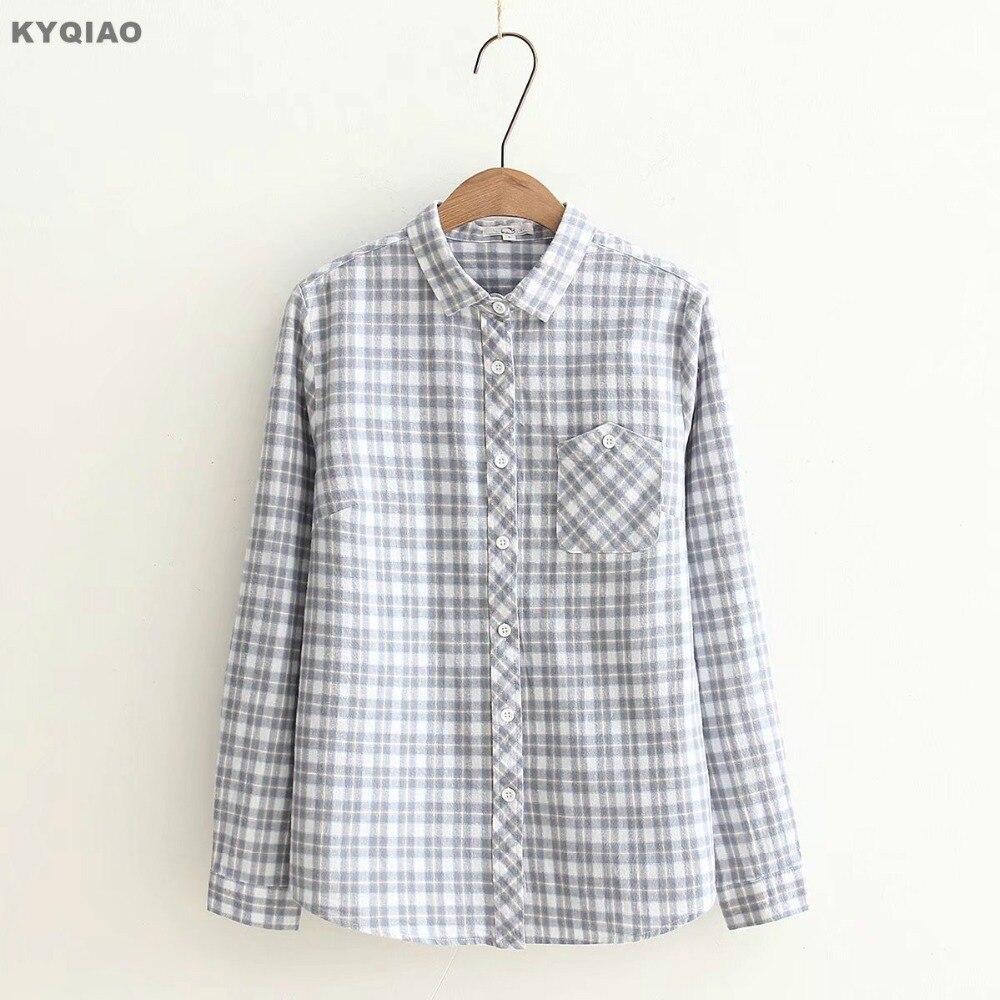 Women's Clothing Kyqiao Women Plaid Shirt 2019 Female Autumn Spring Japanese Style Turndown Collar Long Sleeve Lace Plaid Blouse Tops Blusa