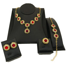 Luxury African Nigerian Jewelry Sets Gold Necklace Set Colorful Red Blue Dubai Gold Jewellery for Women(China)