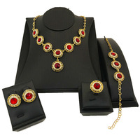 Luxury African Nigerian Jewelry Sets Gold Necklace Set Colorful Red Blue Dubai Gold Jewellery for Women