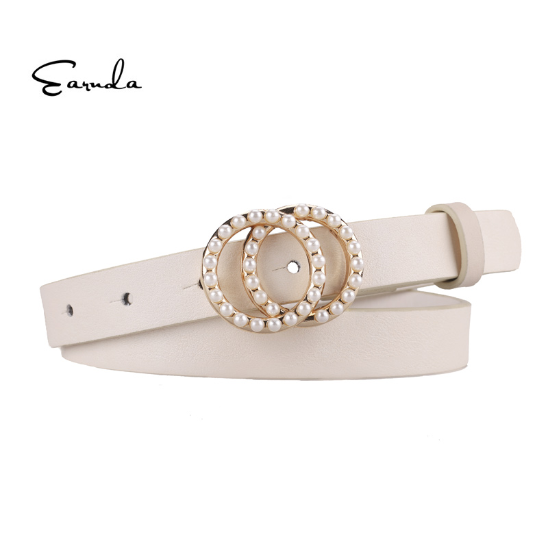 Earnda   Belts   For Women Leather Strap High Quality Pearl Double Buckle Waist   Belt   Cinturon Mujer Designer