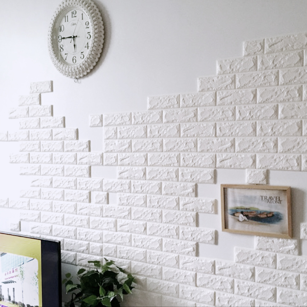 2 Size PE Foam 3D Wall Stickers Safty Home Decor Wallpaper DIY Wall Decor Brick Living Room Kids Bedroom Decorative Sticker