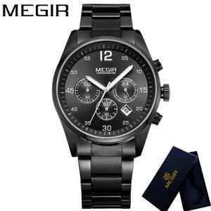 Image 2 - MEGIR Horloge Mannen Waterdichte Chronograaf Militaire Mannelijke Klok Top Brand Luxe Rvs Business Man Sport Polshorloge 2010